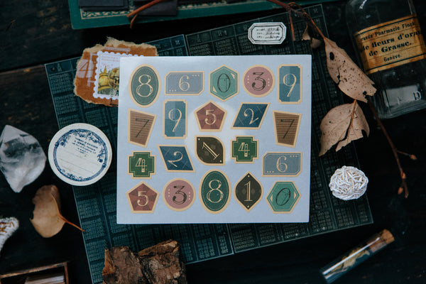 Ours Vintage Style Geometry Numbers Sticker | 漢克 幾何復古數字貼紙