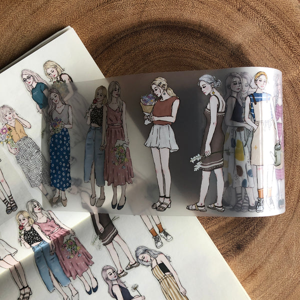 Pion Washi Tape, Girls with Flower | Pion紙膠帶, 花樣女孩