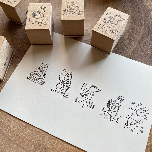 avocado mori Stamp Set, Afternoon Animals | 森酪梨印章組, 午後小動物