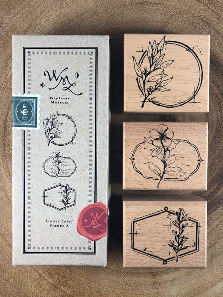 Ours Flower Label Stamp Set A | 花標籤印章組 A
