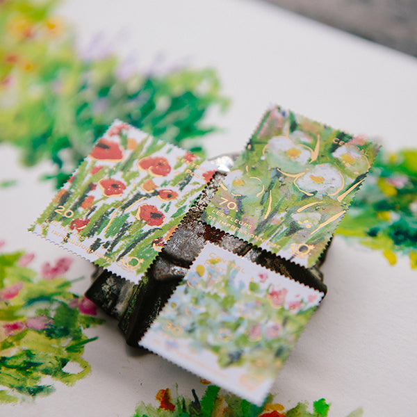 Ours Postage Stamps Sticker, Daily Florist Series, Bright Bloom | 漢克 x 庫巴郵票貼紙 日常花房系列, 粉彩花叢