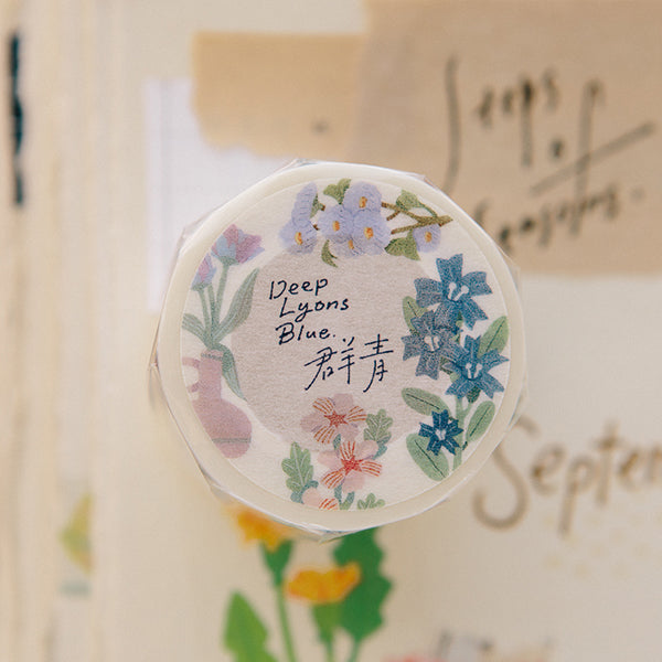 Ours Washi Tape, Daily Florist Series, Deep Lyon Blue | 漢克 x 庫巴紙膠帶 日常花房系列, 群青