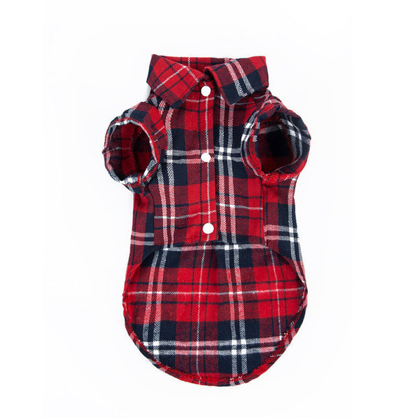 Plaids Grid Checker Shirt Lapel Dog Clothes