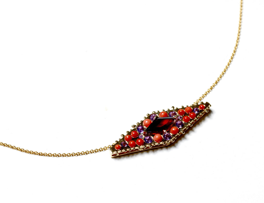 Collier MANDALA spinelle rouge