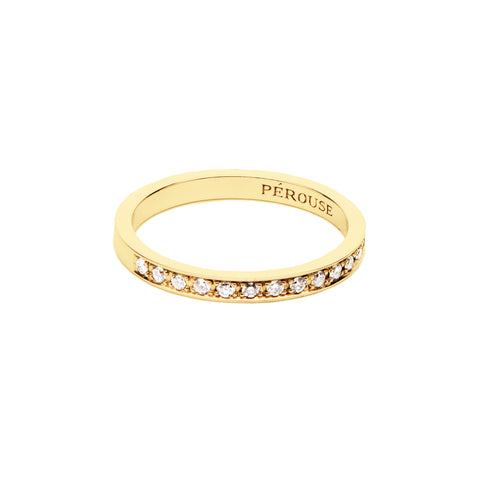 Alliance en diamants serti filet COSMOS - Or jaune 18 cts
