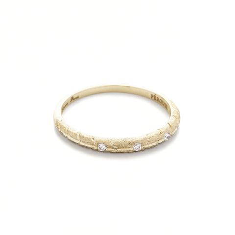 Alliance BANYAN avec 3 diamants ronds - Or jaune 18 cts