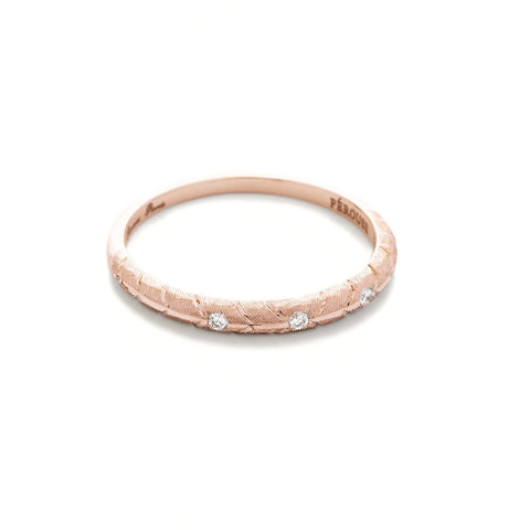 Alliance BANYAN avec 3 diamants ronds - Or rose 18 cts
