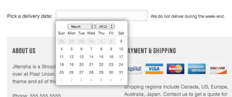 Add a delivery date picker