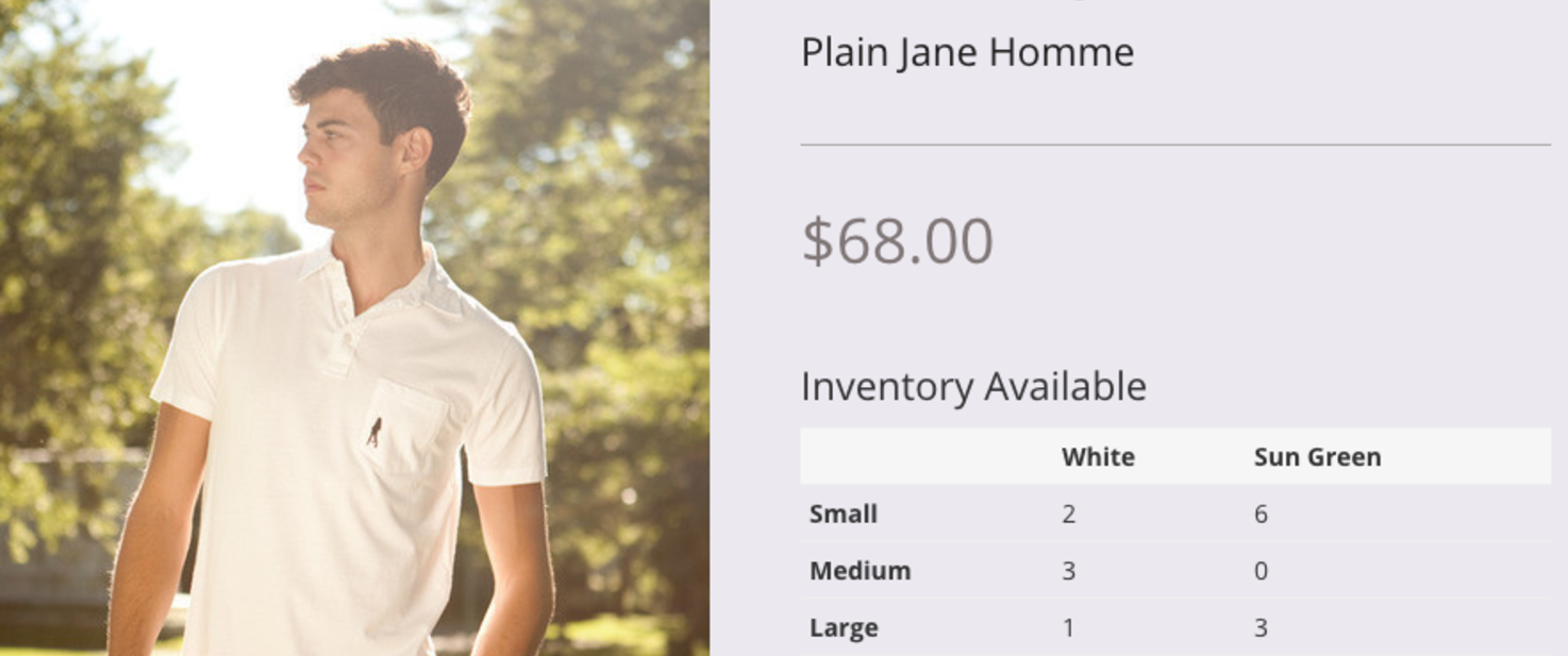 Add an inventory table to product pages
