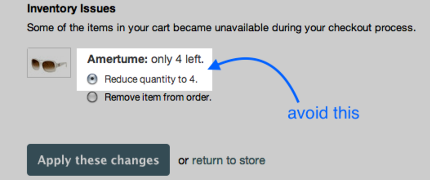Prevent orders for items that are out of stock