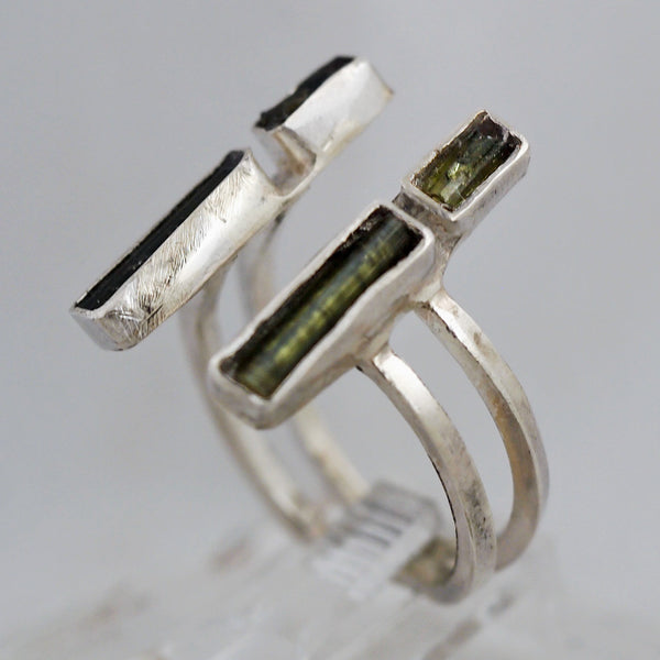 Sterling Silver Adjustable Green Tourmaline Ring