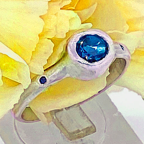 London Blue Topaz & Diamonds Ring (size 6)
