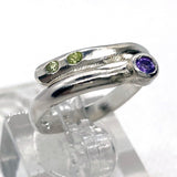 Amethyst & Peridot Adjustable Ring