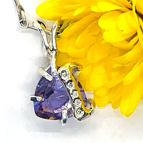 Amethyst & Diamonds Pendant