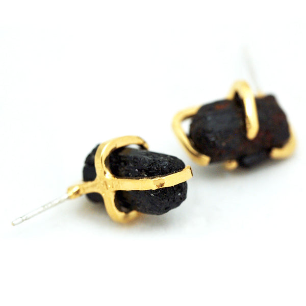 Black Tourmaline Post Earrings - Gold