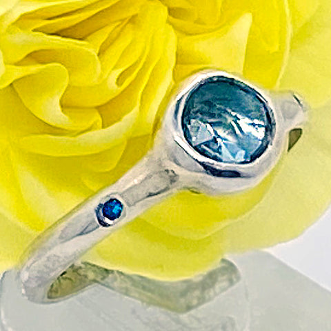 Blue Topaz and Diamonds Ring (size 6 1/2)