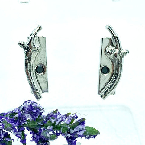 Black Diamond Branch-Post earrings