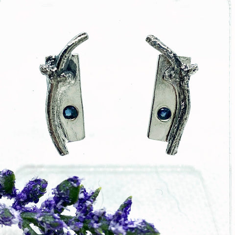 Blue Sapphire Branch-Post earrings