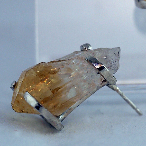 Citrine Point Post Earrings