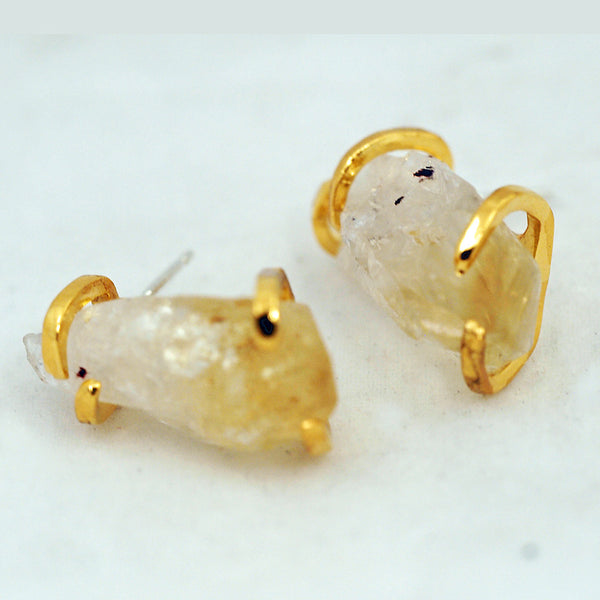 Citrine Point Post Earrings - Gold