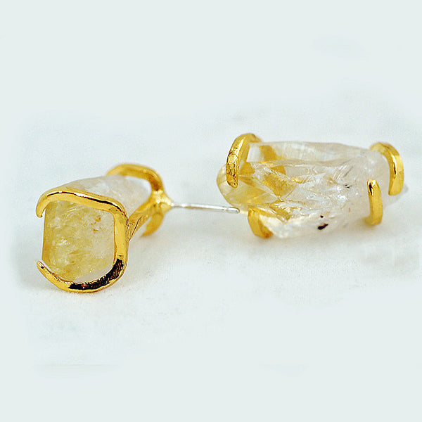 Citrine Point Post Earrings - Gold Look