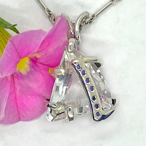 Crystal Quartz and Blue Diamonds Pendant