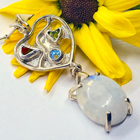 Rainbow Moonstone in Love Pendant