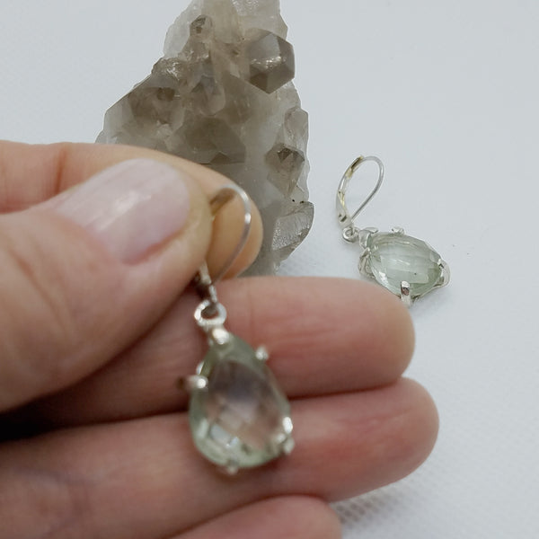 Sterling Silver Green Amethyst Dangle Earrings