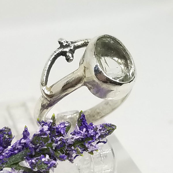 Green Amethyst Branch Ring