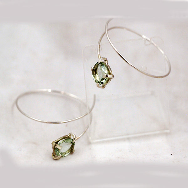 Green Amethyst  Hoops