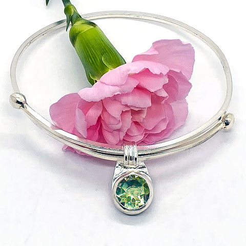 Adjustable Green Amethyst Bangle