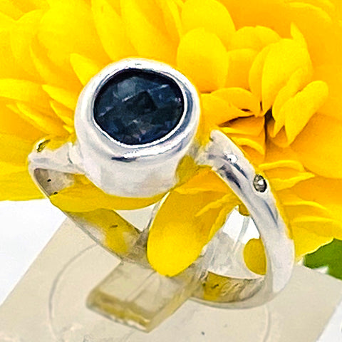 Iolite & Diamonds Ring (size 5 1/2)