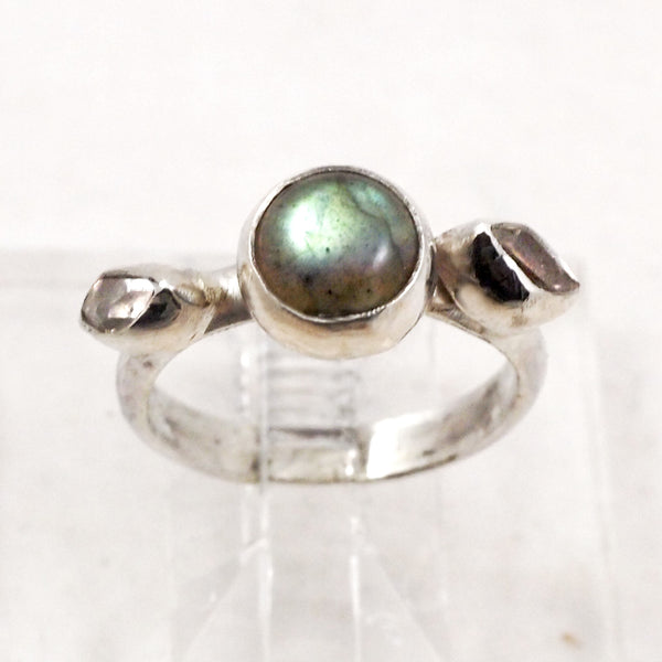 Labradorite & Herkimer Diamond Ring