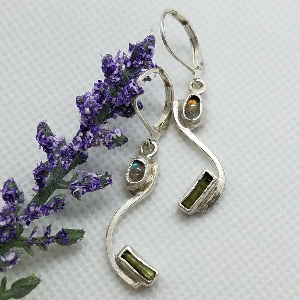 Sterling Silve Labradorite & Tourmaline Dangle Earrings