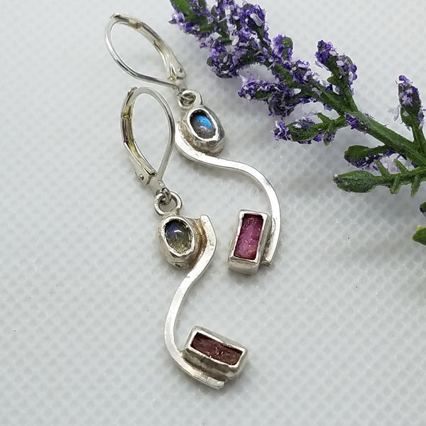 Sterling Silve Labradorite & Ruby Dangle Earrings