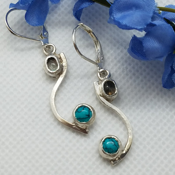 Sterling Silve Labradorite & Turquoise Dangle Earrings
