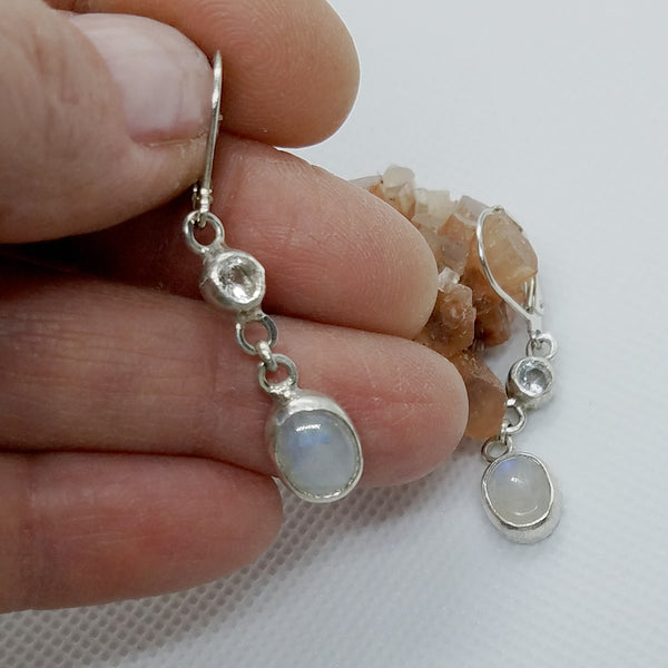 Sterling Silver Moonstone & Clear Topaz Dangle Earrings