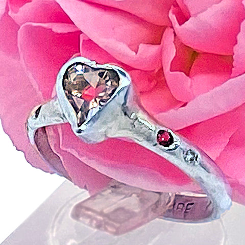 Morganite Heart & Diamonds Ring (size 6)