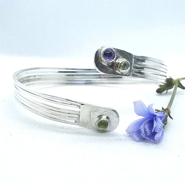 Bangle-style Multi-Strands Amethyst & Peridot