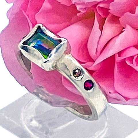 Mystic Topaz with Garnets & Diamonds Ring (size 6)