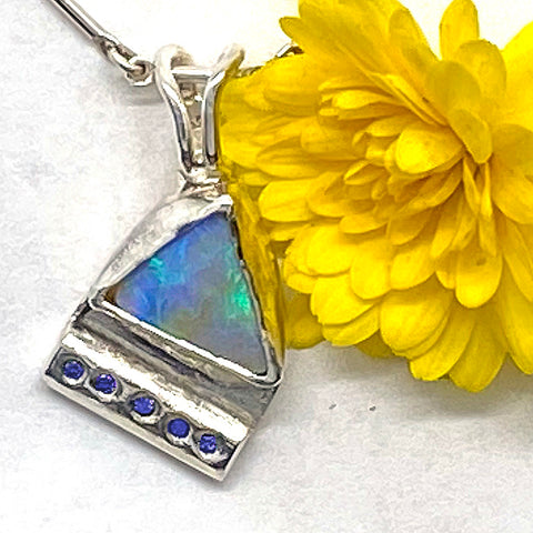 Opal and Blue Diamonds Pendant