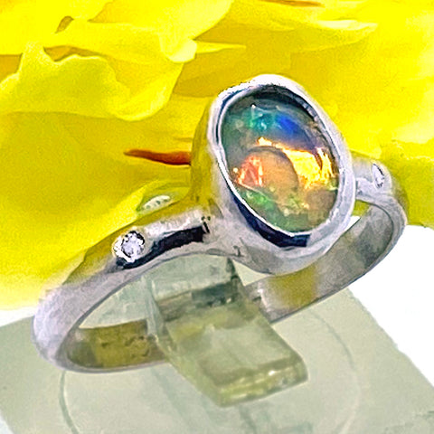 Ethiopian Opal & Diamonds Ring (size 6 1/2)