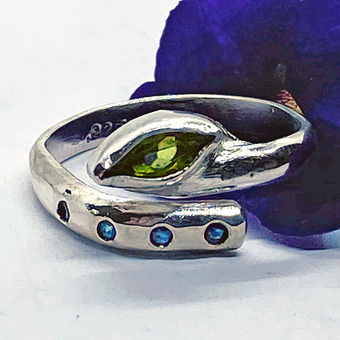 Peridot and Sapphire Adjustable Ring
