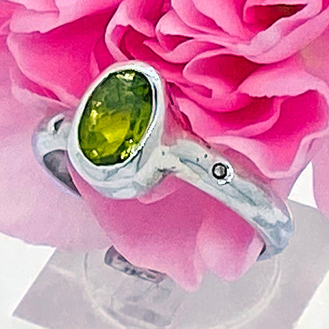 Peridot & Diamond Ring (size 8)