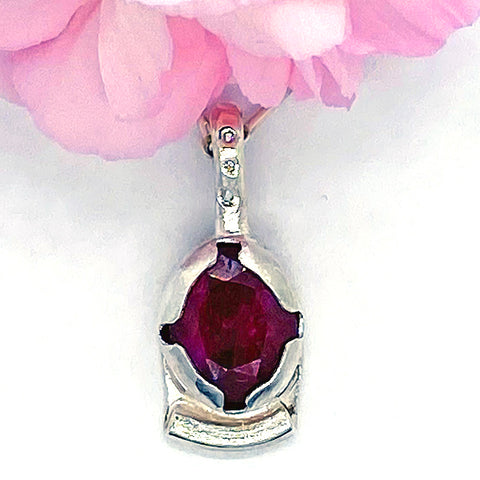 Indian Ruby and Diamonds Pendant