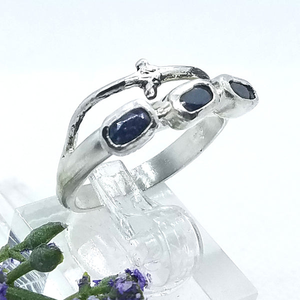 Blue Sapphire Row Branch Ring