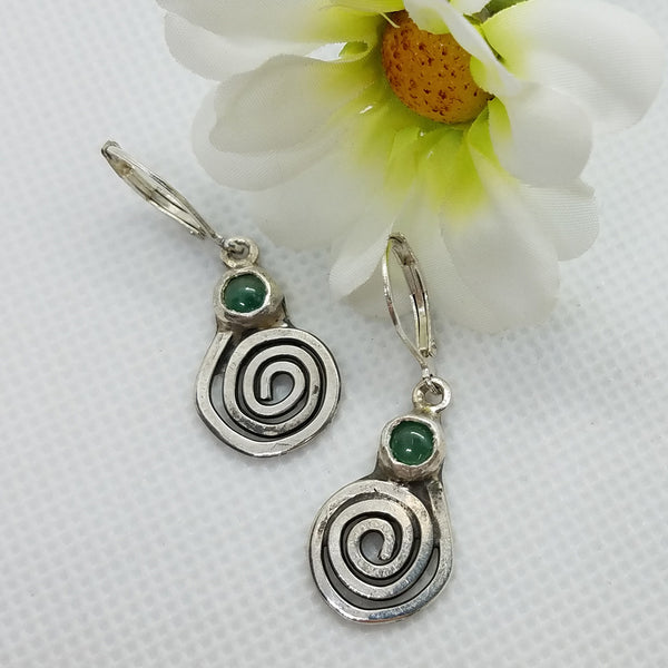Sterling Silver Spiral Aventurine Dangle Earrings