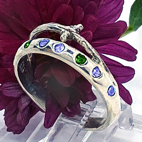 Tanzanite & Chrome Diopside Branches Ring (size 7 1/2)