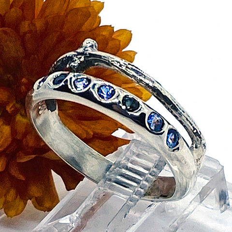 Tanzanite & Sapphire Branches Ring (size 8)