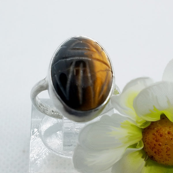 Tiger's eye Scarab Ring